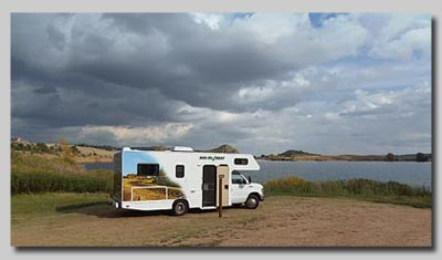 Our Motorhome parked up at Curt Gowdy State Park, Wyoming.
