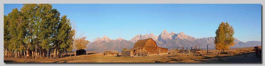 The Old Barn at Mormon Row with the Tetons in the background just after sunrise.