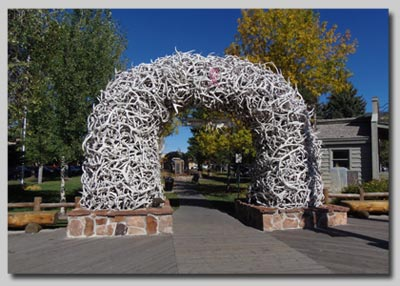 The arch made from Elk antlers in the centre of Jackson Hole town.
